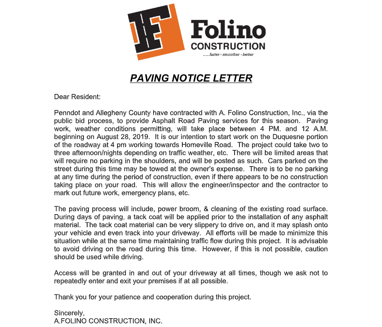 Paving Notification:  Homeville Road Area